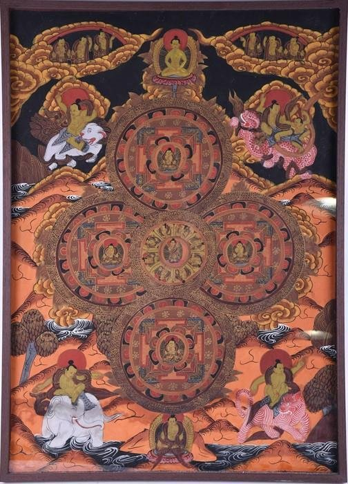 A hand painted Tibetan Thangka style canvas  c. early