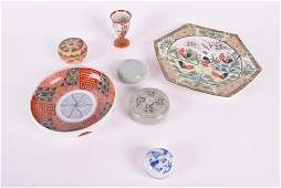 A group of four small circular Oriental porcelain