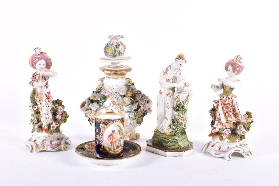 A pair of 18th century Bow porcelain figures modelled