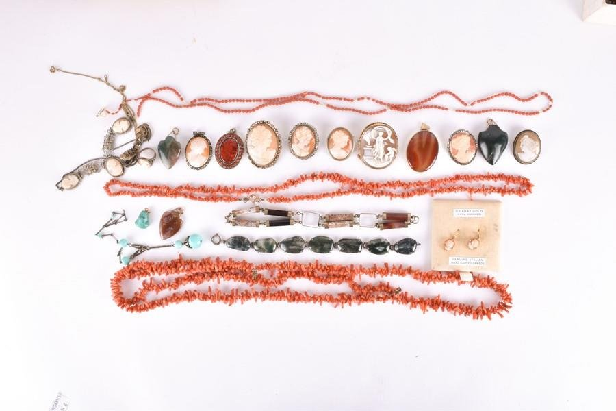 A group of coral and agate jewellery  including a 9ct