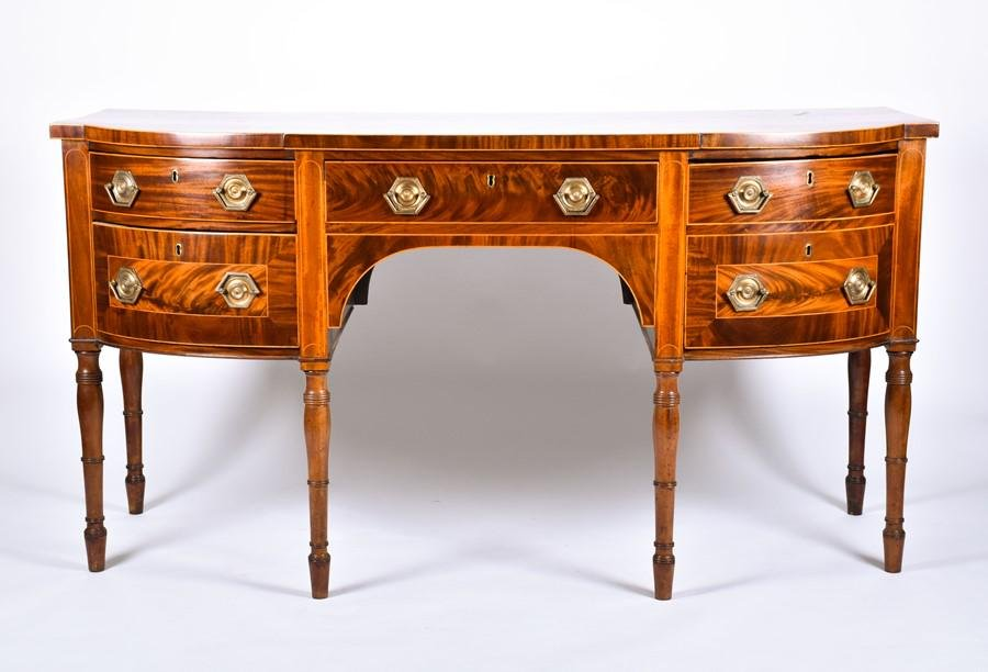 A George III style mahogany and satinwood