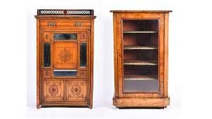 A Victorian walnut and inlaid music cabinet with