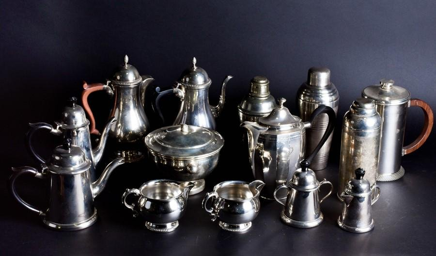 A mixed group of silver plated items  to include three