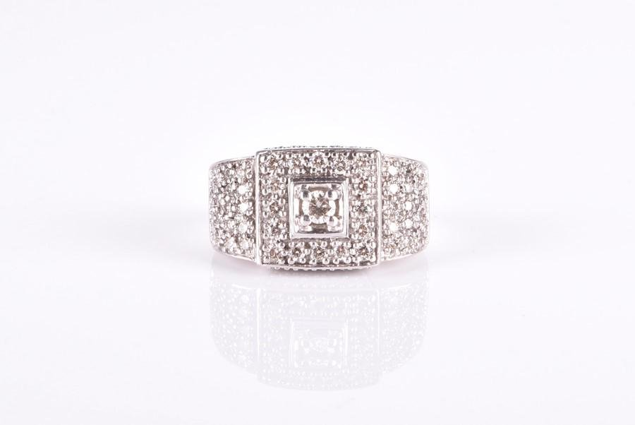 A 9ct white gold and diamond cocktail ring  the wide