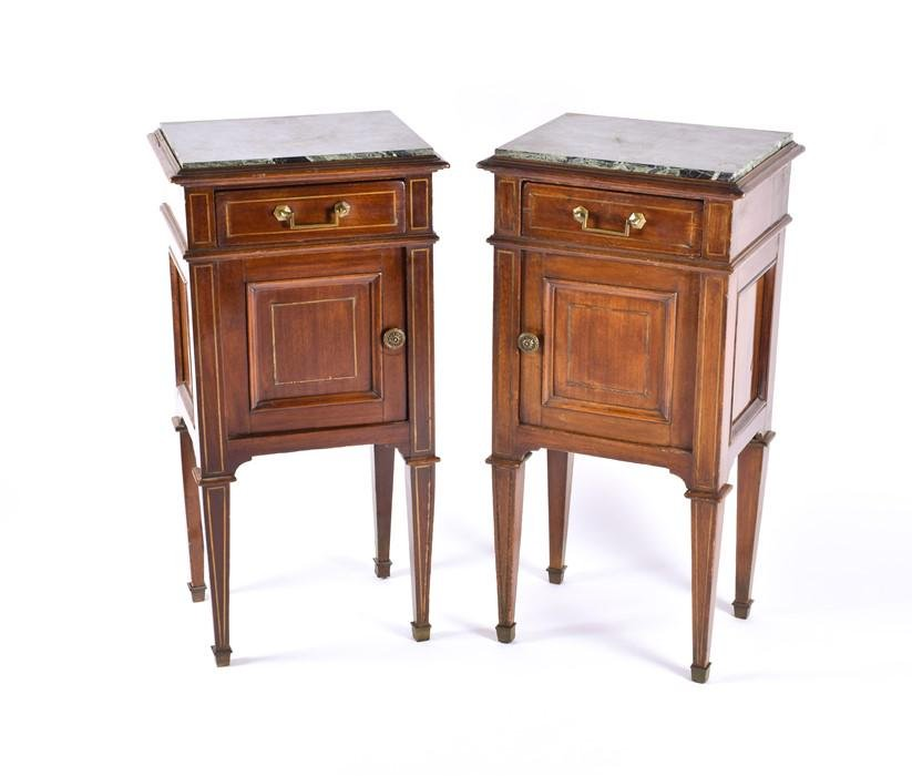 Pair of 19th century French bedside cabinets with green