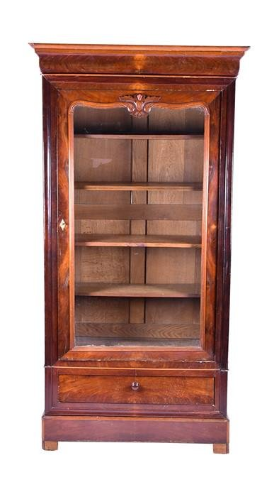 A late Victorian mahogany glazed bookcase  with large