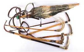 A small collection of 19th century riding crops to