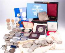 A large quantity of silver coins including various