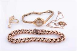 A 9ct rose gold curblink bracelet together with a