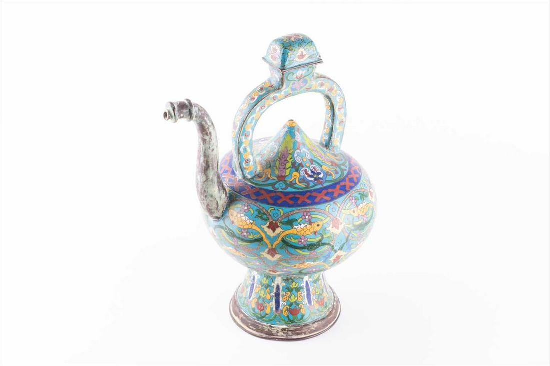 An early 20th century Chinese cloisonné teapot in the