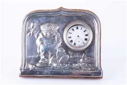 An Edwardian novelty silver-mounted desk pocket watch