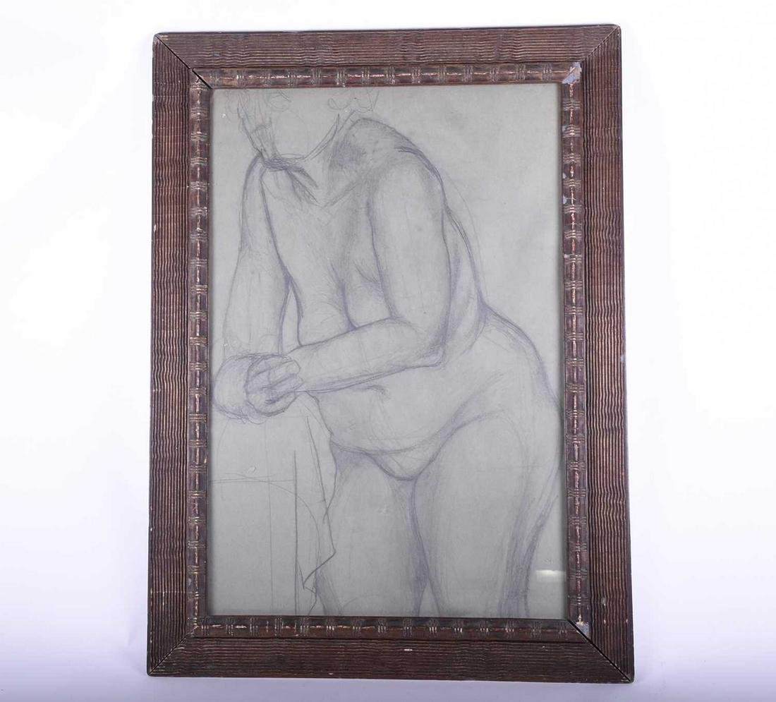 A charcoal on paper sketch of a female nude 20th