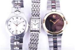 A collection of three wristwatches including a Movado