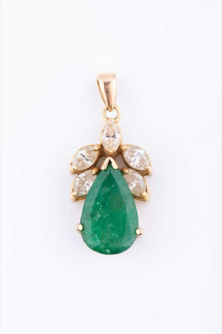 A yellow metal, diamond and emerald pendant, set with a