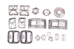 A collection of antique and vintage shoe buckles in