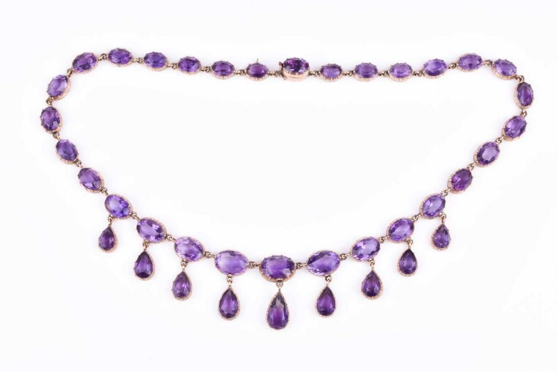 A Victorian yellow gold and amethyst Riviere necklace,