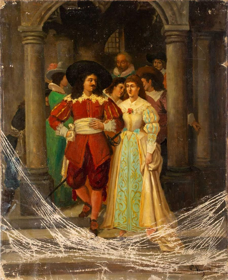 19th century school, a cavalier and his bride, oil on