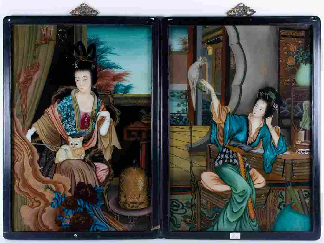 A pair of early 20th-century Chinese reverse glass