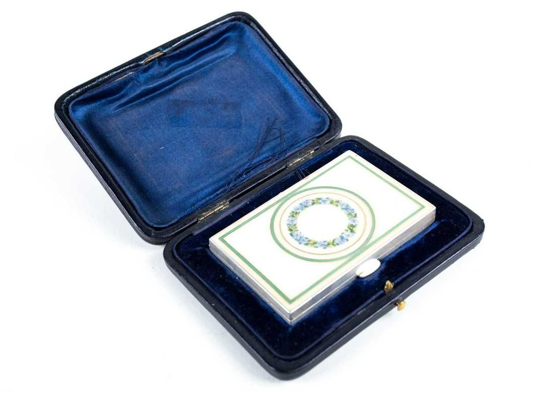 A French silver and enamel card case, of rectangular