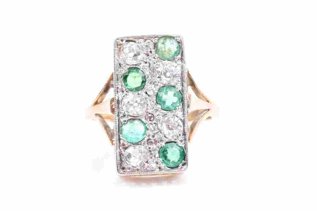 An 18ct yellow gold, diamond, and emerald plaque ring,