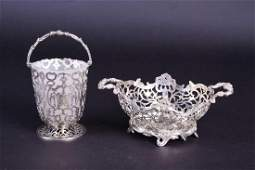 A Victorian silver swinghandled basket London 1847 by