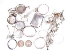 A mixed group of silver and white metal jewellery items