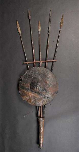 Five Maasai spears, Kenya, all with leaf shaped blades,