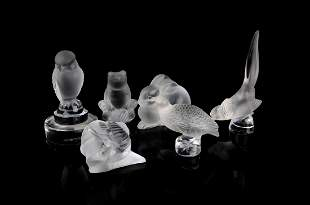 A group of six assorted modern Lalique frosted glass