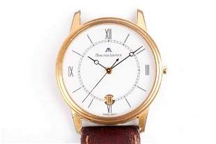 A Maurice Lecroix gold plated wristwatch, the white
