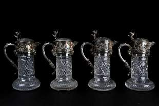 A set of four Victorian silver plate-mounted cut-glass