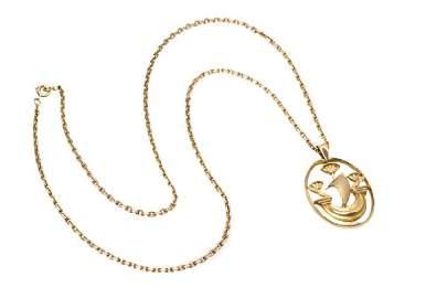 Hermes Gold Pendant on Chain