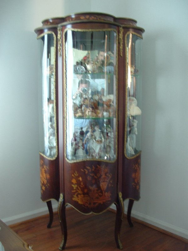 1003: French Provincial  curved glass display cabinet