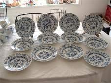 1183: Meissen blue onion 12 dinner plates (1 cracked)
