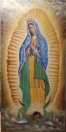 """Unsigned items  """"GUADALUPE'S VIRGIN"""", vintage ,Oil on"""