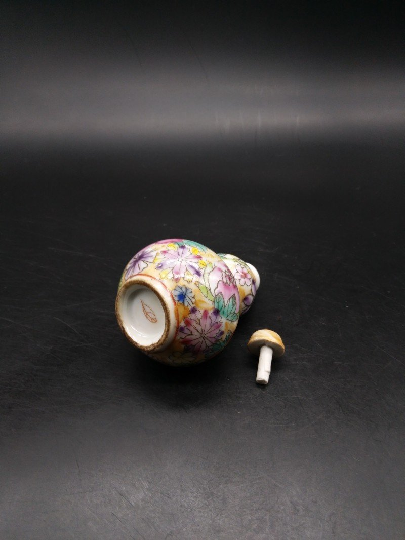 Hand-painted enamel with snuff bottle and gourd shape - 5