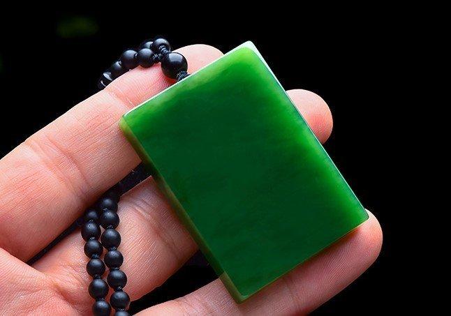 Xinjiang Hetian Jade Spinach Green Jade Pendant - 2