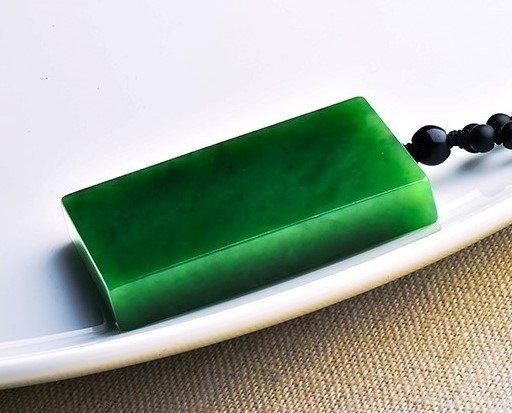 Xinjiang Hetian Jade Spinach Green Jade Pendant - 4