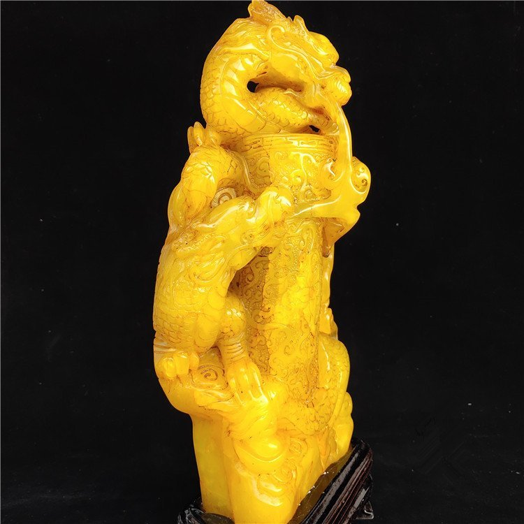 Golden Stone Seal Carving Shoushan Yellowstone - 7
