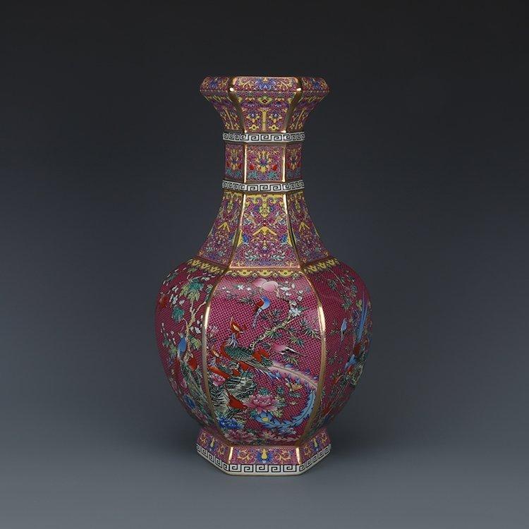 Hexagonal Vase with Pink Flower