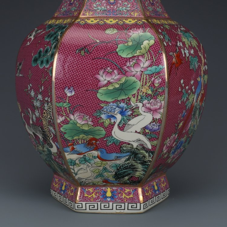 Hexagonal Vase with Pink Flower - 2