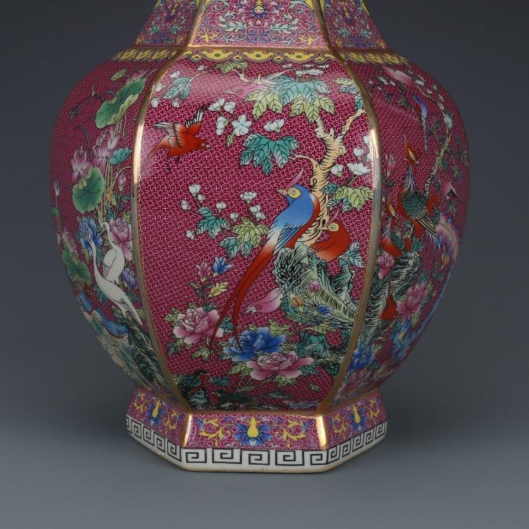 Hexagonal Vase with Pink Flower - 4