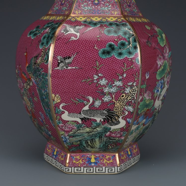 Hexagonal Vase with Pink Flower - 5
