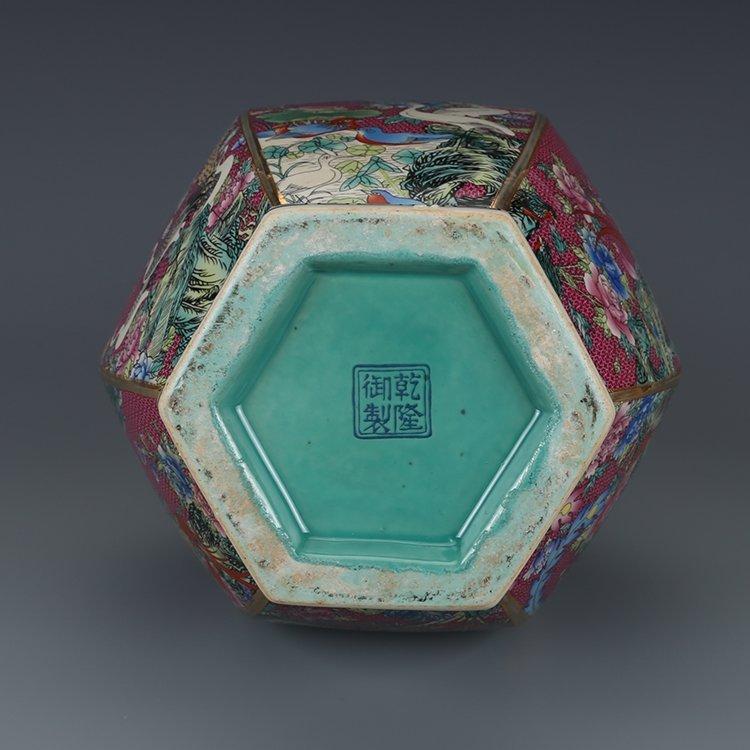 Hexagonal Vase with Pink Flower - 7