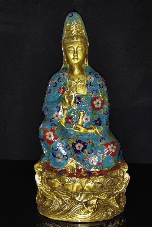 Cloisonne enamel pure bottle Guanyin Buddha statue