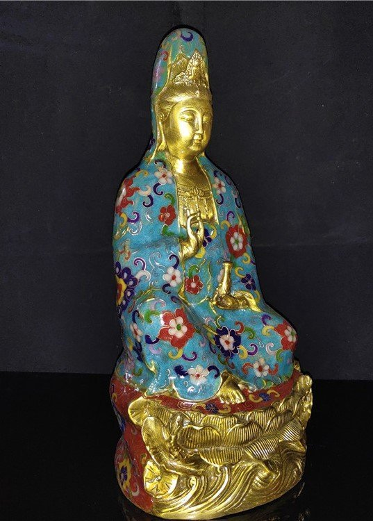 Cloisonne enamel pure bottle Guanyin Buddha statue - 3