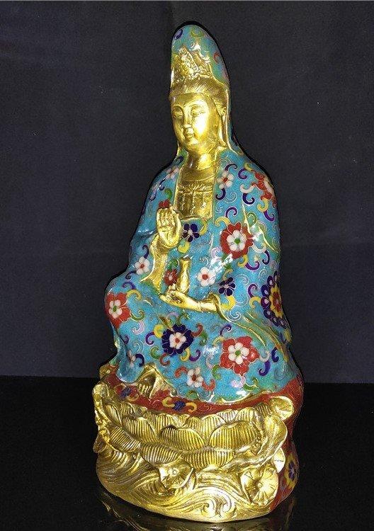 Cloisonne enamel pure bottle Guanyin Buddha statue - 4