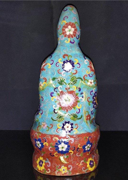 Cloisonne enamel pure bottle Guanyin Buddha statue - 5
