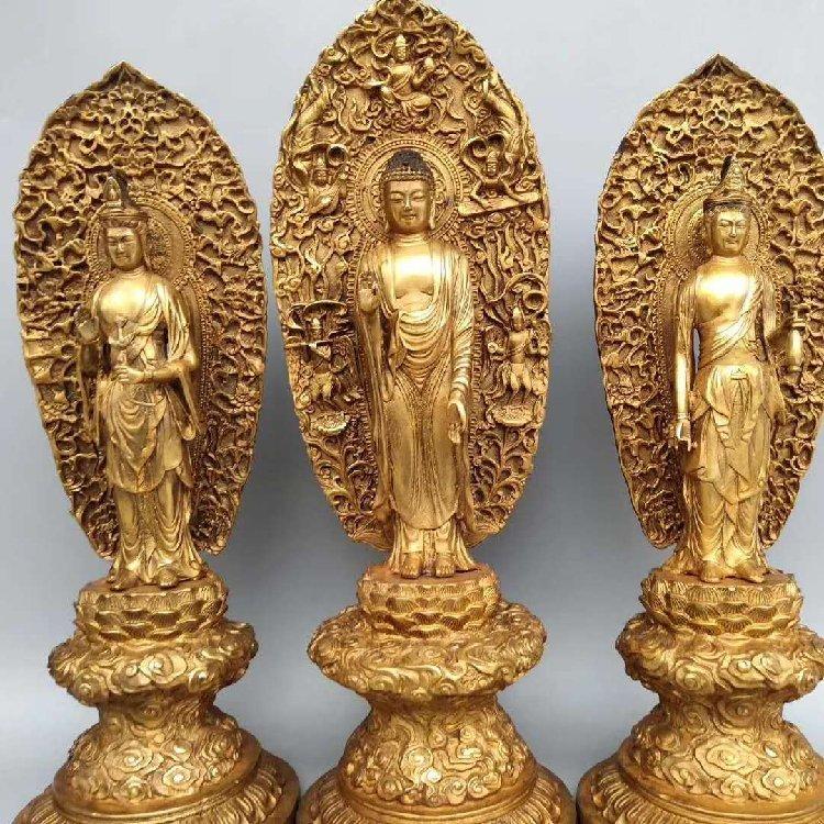 Three Buddhist statues of Amitabha in pure bronze ,