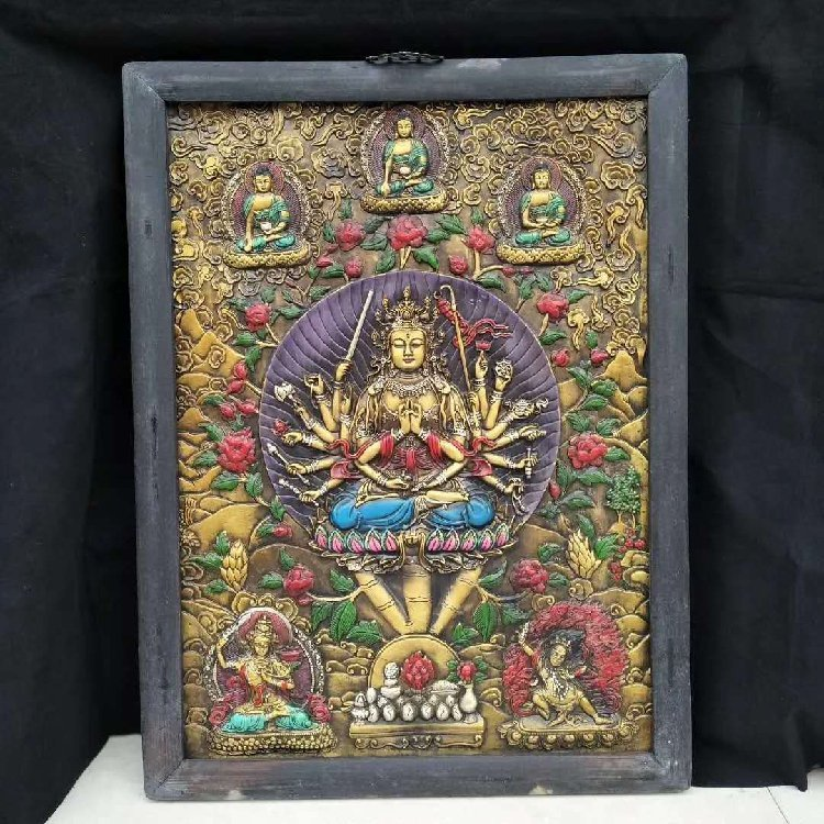 Wooden Frame Painted Tangka Wood Carving