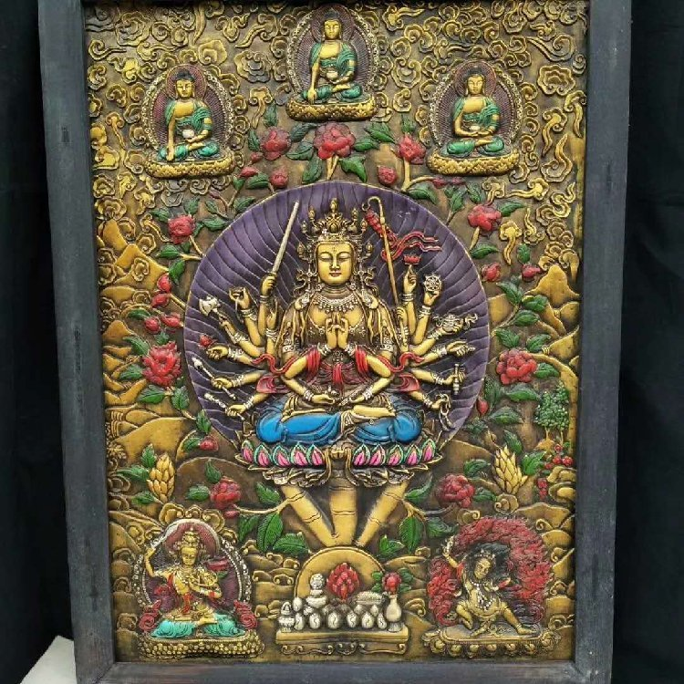 Wooden Frame Painted Tangka Wood Carving - 2